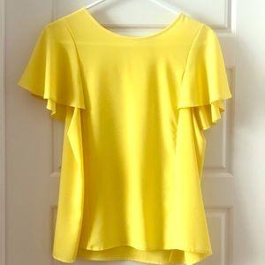 Fun flutter sleeve yellow top